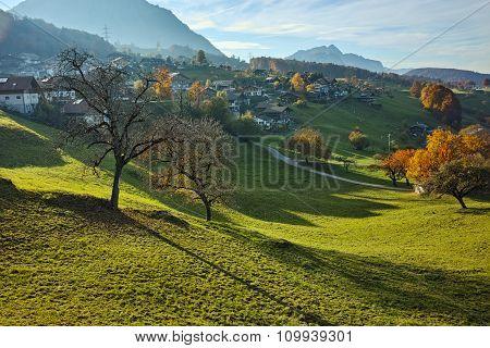 Autumn Landscape of typical Switzerland village near town of Interlaken