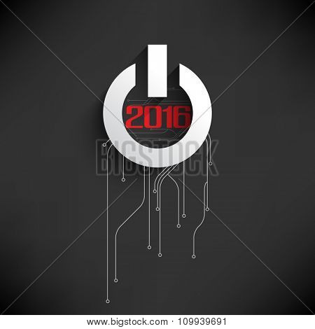 circuit board and start button elements on 2016 new year celebration graphic design