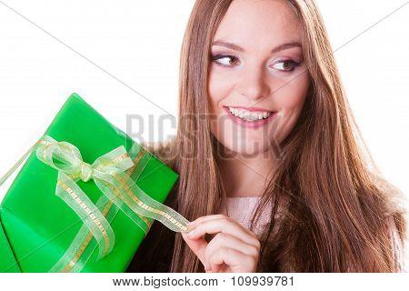 Pretty Happy Woman With Box Gift. Birthday.