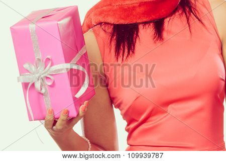 Girl Mixed Race Santa Claus Hat With Gift Box