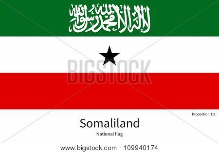 National flag of Somaliland with correct proportions, element, colors