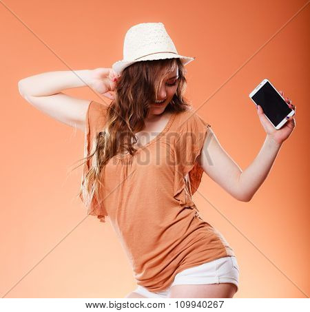 Summer Woman Holds Mobile Phone Dancing