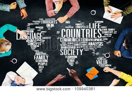 Countries People Global Connection Team Ideas Brainstorm Creative Nations Concept