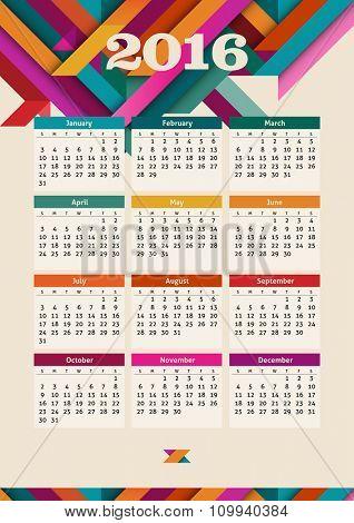 Calendar 2016, eps10 vector