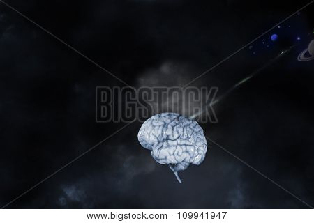 cyborg, artificial-intelligence, human brain, planets and space concept