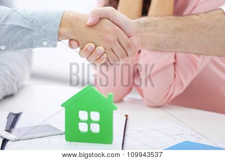 Estate agent meeting with happy couple, on light background