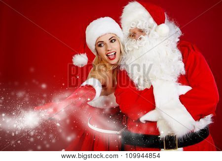picture of family couple in santa claus costume