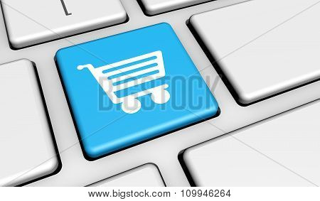 Online Shopping Icon Button Keyboard
