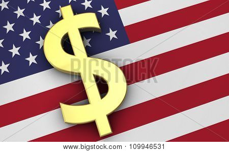 Usa Economy Concept With Dollars Icon And Us Flag