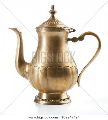 Vintage silver teapot isolated on white background
