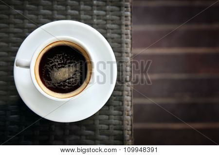 Cup of tasty coffee in cafe