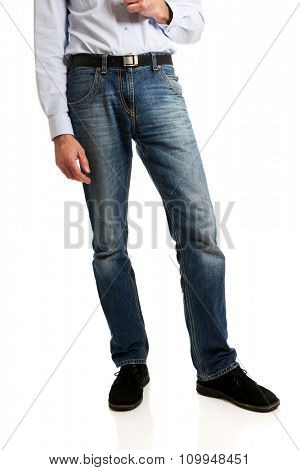 Full length of a men in jeans trousers.