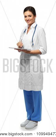 Smiling medical doctor holding a tablet isolated on white