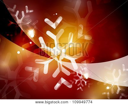 Christmas red color abstract background with white transparent snowflakes. Holiday winter template, New Year layout