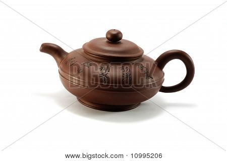 Vintage Chinese Brown Teapot On White Background