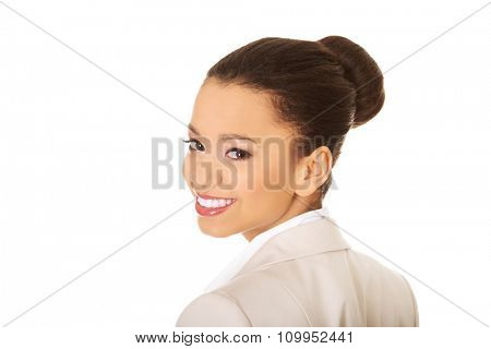 Beautiful toothy smiling african businesswoman.