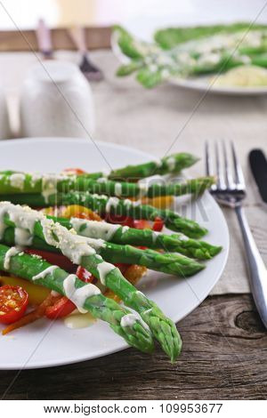 Delicious vegetables dish on served table, close up