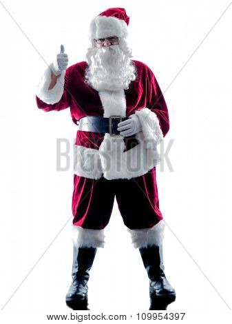 one santa claus man Thumbs Up silhouette isolated on white background