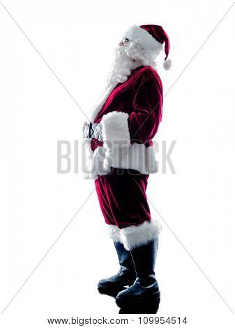one santa claus man silhouette isolated on white background