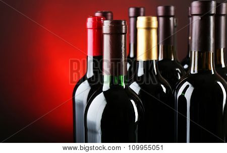 Wine bottles on red background