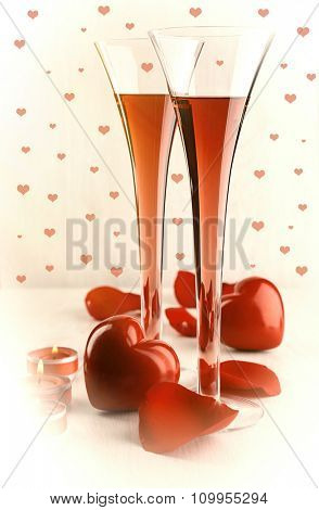 Composition with pink wine in glasses, red roses petals and decorative hearts on light background
