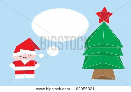 Vector origami in shape of Santa Claus, Christmas Tree and Fox with callout frame- Stock Illustratio