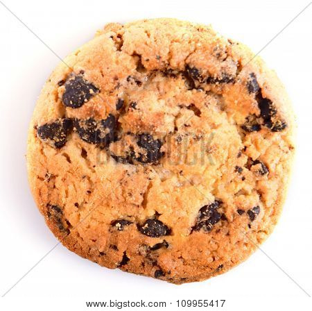 Cookie with chocolate crumbs isolated on white background