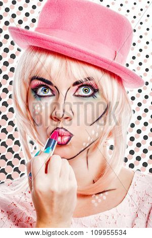 Girl With Makeup In Style Pop Art Lipstick Paint.