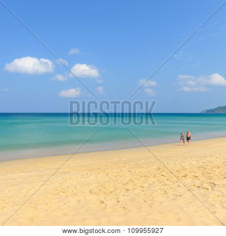 At Leisure, Couple Of People On Beautiful Beach