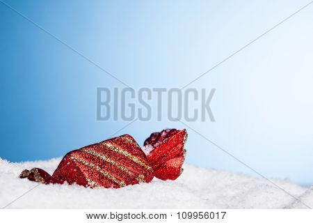 Christmas decoration candy with snow