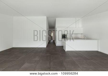 interior of new apartment, modern domestic kitchen