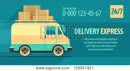 Flyer design for freight delivery transport with minibus. vector illustration. Transparent objects used for lights and shadows drawing.