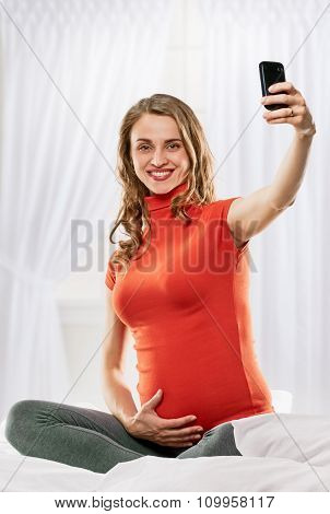 Pregnant Young Woman selfie
