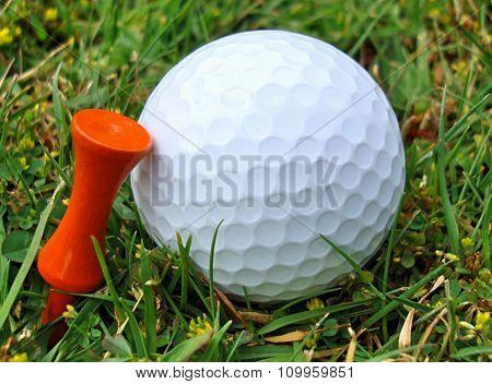 Golf Ball with Orange Tee
