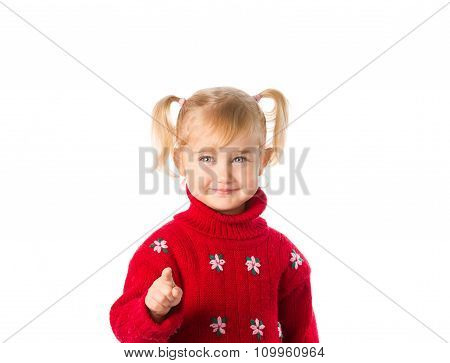 Little Girl With Ponytails In A Warm Red Sweater On A White Background.