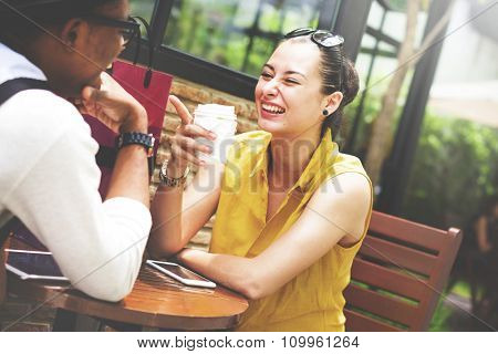 Couple Cafe Outdoors Relaxation Lifestyle Concept
