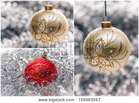 Shiny New Year Collage with Christmas balls and Decorations