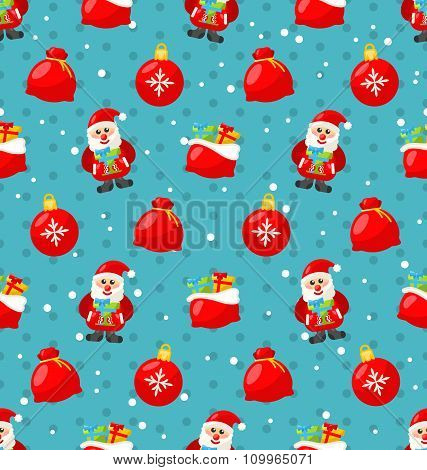 Happy New Year seamless pattern with Santa and gifts