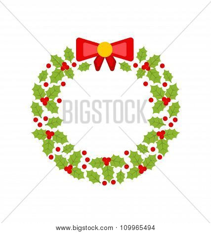 Christmas Wreath Made of Holly Berries Isolated