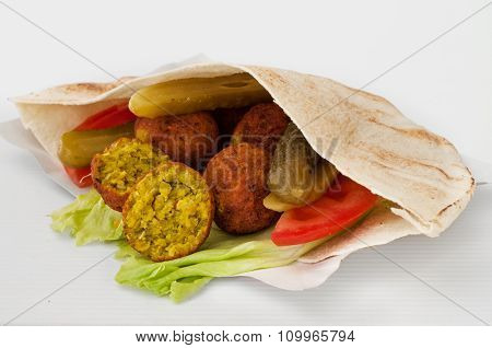 Falafel With Vegetables In Pita Bread