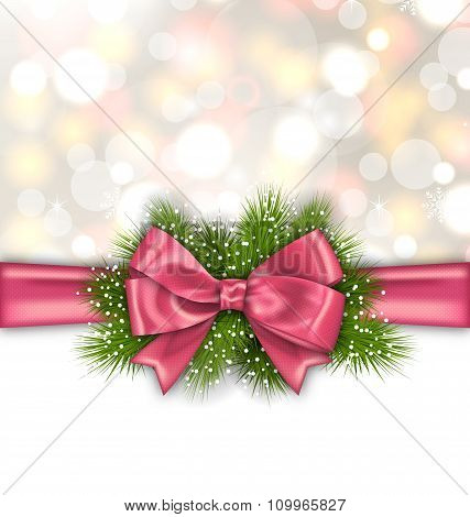 Winter Elegant Background with Pink Bow Ribbon