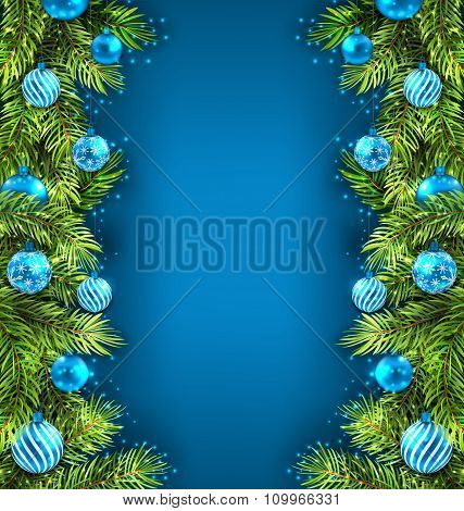 Winter Holiday Wallpaper with Fir Sprigs and Glass Balls