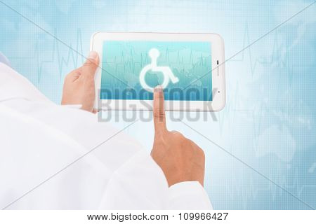 Doctor hand touch screen Disabled symbol on a tablet. medical icon