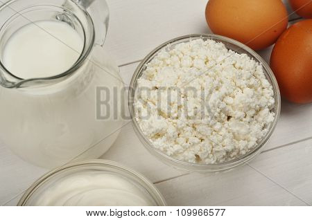 Homemade Cottage Cheese With Sour Cream, Eggs And Milk