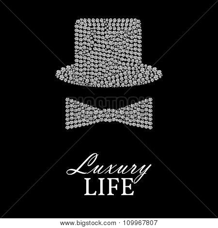Bowler Hat Or Cylinder And Bow Made Of Diamonds