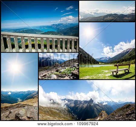 collection panoramas mountains in the Alps. Backgrounds