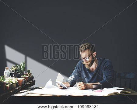 Workplace Businessman Working Planning Seriously Concept