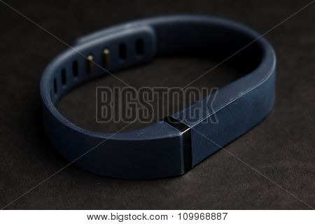 sport, technology, game and objects concept - close up of heart rate watch band