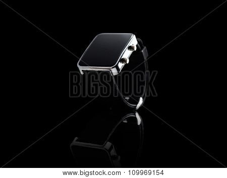 modern technology, time, object and media concept - close up of black smart watch