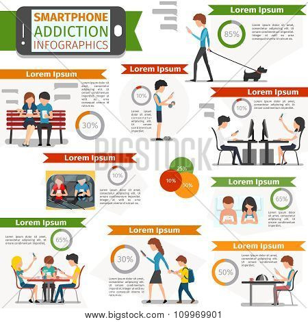 Smartphone, social media and internet addiction vector infographic
